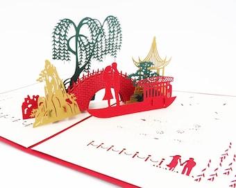 Asian Bridge Love Card, Love Pop Up Card, Valentine's Card, Valentine's Day card, wedding card, anniversary card, red love, romance card