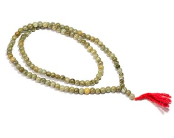 Mala Meditation Beads Moss Agate gemstone 108 Mala beads  Yoga Jewellery Prayer Beads M7 Buddhist Free UK Delivery + Gift Bag M11