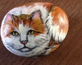 Painted cat rock  animal art.  Original acrylic art. Orange tabby cat.