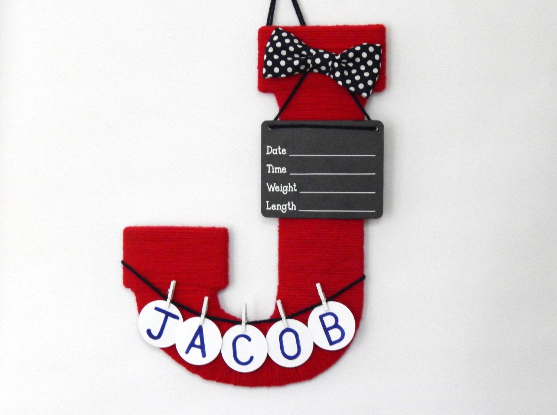 Hospital door hanger / Letter J / Baby room decor /