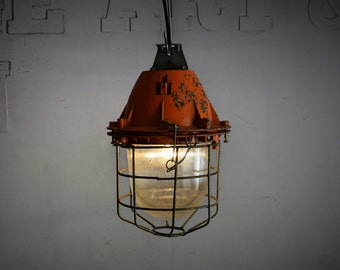 Vintage caged light orange/red, vintage Industrial lamp, pendant light, industrial lighting