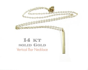 14KT SOLID GOLD Small Vertical Bar Necklace, Dangling Polished Bar Necklace in 14Kt Solid Yellow Gold, White Gold and Rose Gold