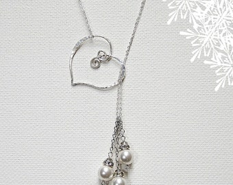 Mom Heart Necklace, Mom Pearl Necklace, Mothers Day Necklace, Lariat Necklace, Sterling Silver Mom Necklace, Mothers Day Jewelry, Mom Gift