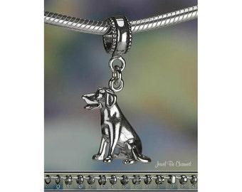 Labrador Retriever Charm or European Charm Bracelet Sterling Silver