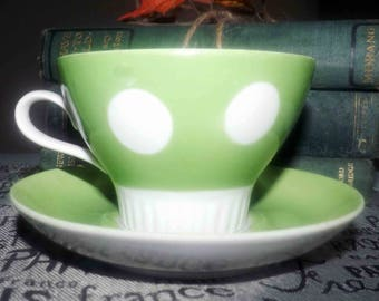 Vintage (1980s) green and white polka dot tea set made in the USSR at the Riga Porcelain Factory.  So cute - so retro.