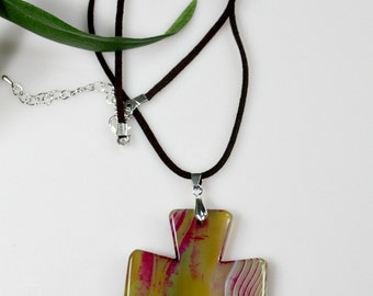 Agate Cross Pendant Necklace - Yellow Carved Stone - Double Sided - Statement Necklace - Unique Easter Gift - Spring /Summer