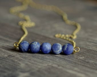 Delicate brass necklace with sodalite Matt Blue