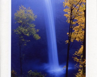 Silver Creek Falls - Handmade - Photo Greeting Cards - Note Cards - Autumn - Fall - Oregon - waterfall - Nature - Landscape - Blue - Yellow