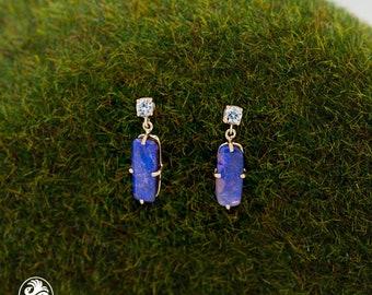 Opal Earrings, Boulder Opal Earrings, 14 Karat Yellow Gold Opal Earrings,October Birthstone, Diamond Earrings with Dangling Opals | EAR01888