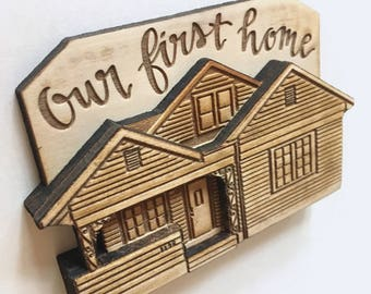 Custom House Warming Gift, Unique Mother's Day Gift, Personalized Grandmother Gift, House Ornament or Magnet, Our First Home, New House Gift