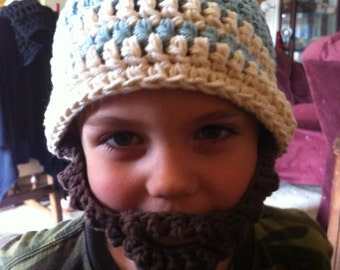 Bulky Bearded Beanie Crocheted Cotton Hat - Great Photo Prop