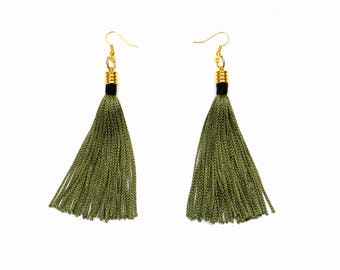 Olive Green Tassel Earrings, Long Tassel Earrings, Gift For Her