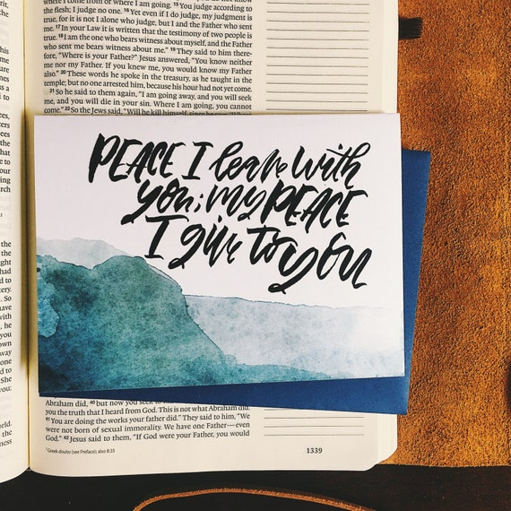 Sympathy card for Christians, John 14 27, My peace I give you, encouragement during a difficult time, scripture verse card, bible journaling