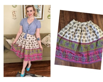 1950s floral border print cotton skirt