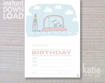 girls invitation - instant invitation -  kids invitation - childrens invitation - car - presents
