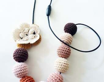 Nursing necklace/Montessori Jewelry/Breastfeeding Necklace/Baby Shower Gift/CottonTeething Toy/Girl Birthday Gift