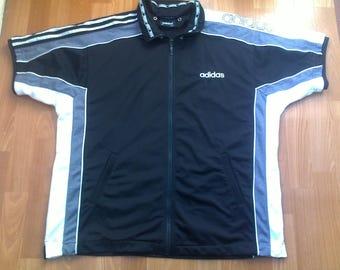 ADIDAS jersey, vintage buttoned hip hop t-shirt of 90s hip-hop clothing, 1990s gangsta rap, lowrider, run dmc size M Medium