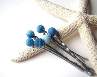 Blue Beach Bobby Hair Pins Crackled Agate