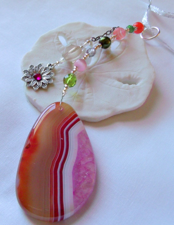 Pink sun catcher - garden ornament - Sun room decor -  gem hanging stone - window -  car charm  - agate Sun catcher - natural stone - Gift