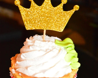 Gold Crown Cupcake Toppers 12 Gold Crowns Gold Crown Birthday Decorations Cupcake Toppers Set of 12