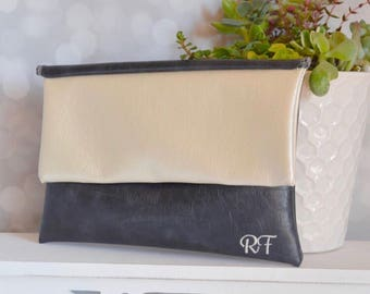 Color block fold over clutch - personalized leather handbag - grey bridesmaid clutch - ivory monogram clutch purse - bridesmaid gift for her