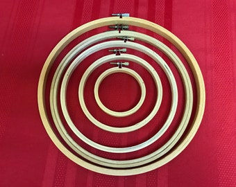 """Lot of Wood Embroidery Hoops, 10"""" - 3"""", Set of 5"""