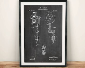 O'Reilly Tattooing Machine Patent Art Poster