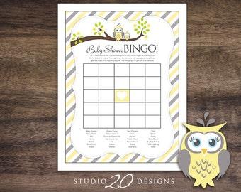 Instant Download Yellow Owl Baby Bingo Game, Yellow Grey Owl Baby Shower Game, Gender Neutral Owl Theme Baby Shower Bingo 23G
