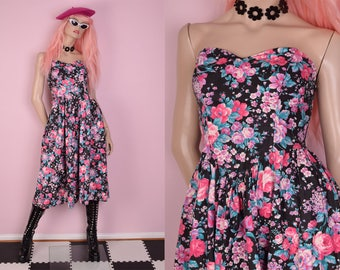 80s Floral Print Strapless Dress/ US 7-8/ 1980s