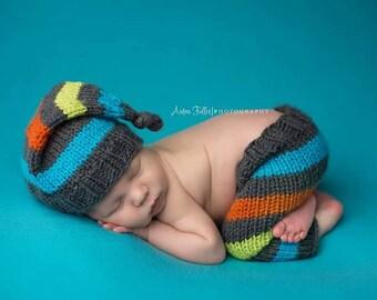 newborn knit hat and pants prop - newborn knit sets - newborn boy photo outfit - boy photo props - boy photography outfits - boy knit hat