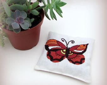 Vintage Butterfly Gift - Large Dried Lavender Sachet - Vintage Embroidered Linens - drawer sachet - nature gift - garden gift