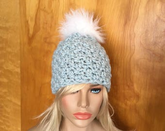 Chunky thick crochet White Faux Fur Pom Pom Hat Baby Blue b1