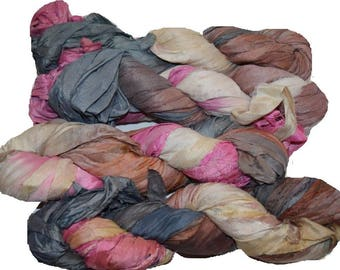 10 yards Brown Pink Sari Pure Silk Ribbon Yarn for tassels Fair Trade