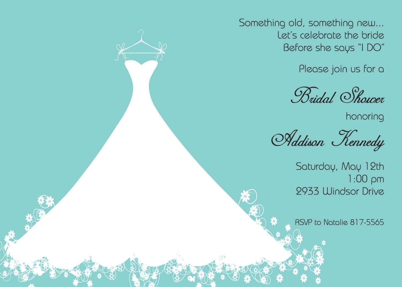 Bridal Shower Invitation Aqua Blue Wedding Gown Printed