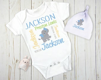 Personalized Baby Gift Set, Elephant Baby Gift, Newborn Baby Gift, Coming Home Outfit, Birht Announcement Gift, Baby Shower Gift, New Baby