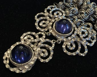 RARE Lucien Piccard Magnificent Signed Vintage Statement Brooch Marked 134P Huge Sapphire Blue Cabochons Couture Limited Fabulous