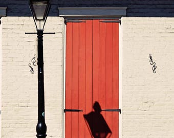 New Orleans- NOLA- French Quarter- Architecture- Lamp Post Shadow- Fine Art Photography