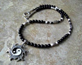 Yin Yang Sun Wheel Pendant, Black Onyx, White Howlite, Silver Accents Men's Necklace, Men's Jewelry, Men's gift, Gift for him