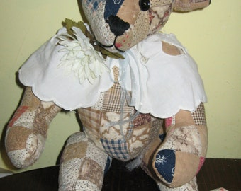 Handcrafted Original Teddy Bear Made From Antique Quilt 21 Inches Tall