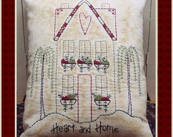 Heart and Home-Primitive Stitchery E-PATTERN by Primitive Stitches-Instant Download