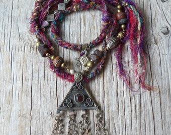 Bohemian statement necklace - gypsy jewelry - boho jewelry - gift for her