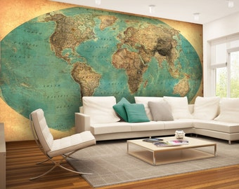 World map wall mural etsy world map wall mural wallpaper wall dcor wall decal nursery and room publicscrutiny Gallery