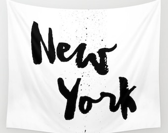New York City Tapestry, New York Wall Tapestry, Dorm Decor, New York Decor, Teen Room Decor, Black and White Wall Decor, New York City