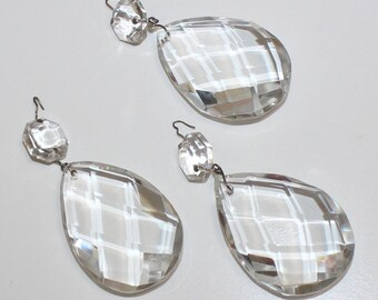 Beautiful, Set of 3, Large Vintage Chandelier Crystals
