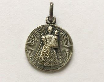 Antique French Madonna with Child Medal Mother Mary Pendant French Religious Medal Pendant