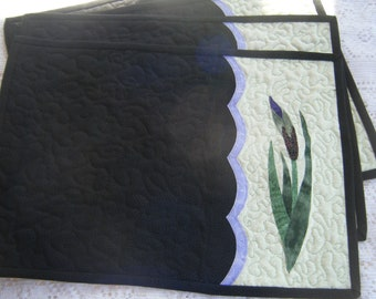Appliqued Quilted Wild Iris Placemats - HANDMADE BY ME