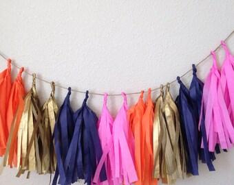 Navy, gold, pink Tassle Garland / tassel garland- 6 feet Tissue Paper garland-