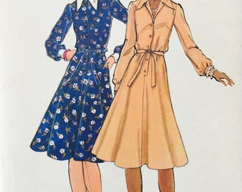 Butterick 5733 -  UNCUT pattern - Size 12 - Bust 34 - Collared A line Dress - Belted Dress - Button Front Dress - Vintage Sewing Pattern