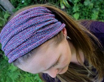 EXTRA Wide Knit Headband, Red Blue Purple White Headwrap, Multicolor Headband, Boho Headband, Yoga Accessory, Purple Dreads, Tribal Headband