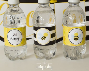 Bumble Bee baby shower water bottle labels - Printable - Gender Reveal Baby Shower - Neutral Baby Shower - Instant Download // BEE -09